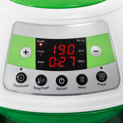 Per Sensortasten-Tipp präzise einstellbare Gartemperatur und -zeit.