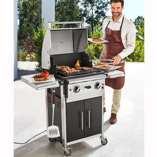2-Zonen-Elektro-BBQ Deluxe - Riesige Grillfläche mit 2 Temperaturzonen. Einzeln stufenlos einstellbar bis 250 °C.