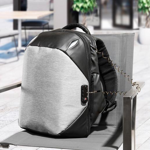 Anti-Diebstahl-Rucksack - Schnitt- und stichfest. Mit TSA-Codeschloss, Stahlkabel zum Anketten, Doppel-Reißverschlüssen, ... Dabei schick, komfortabel und optimal organisiert.