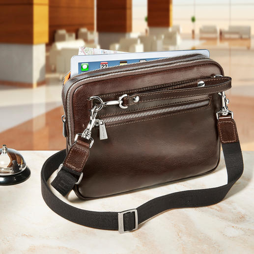 Der 80cm lange Schulterriemen verwandelt die Tasche im Handumdrehen in eine stilvolle Crossbag.