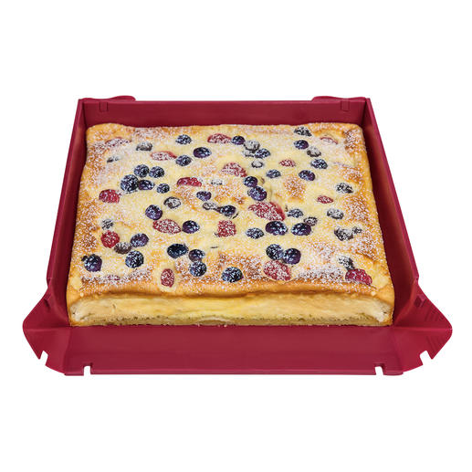 Die rechteckige Form (separat erhältlich) eignet sich ideal für Blechkuchen.