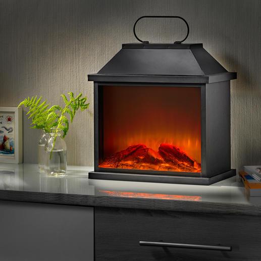 Kaminfeuer-Laterne Die Atmosphäre lebendigen Feuerscheins – dank raffinierter LED-/Simulator-Technik.
