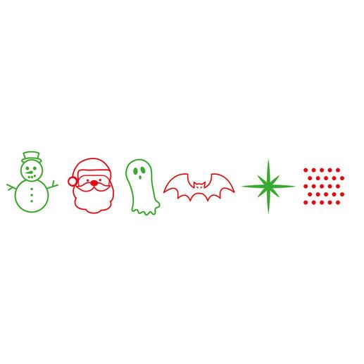 6wechselbare Lasermotive – 2x Weihnachten, 2x Halloween und Konfetti oder Sternenhimmel.