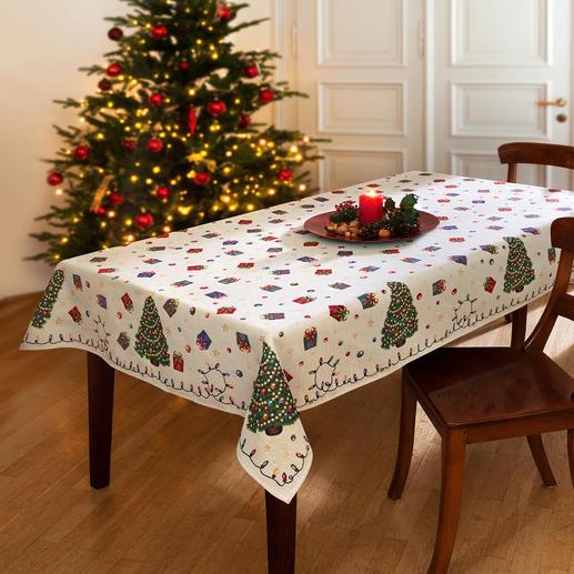 Nostalgische Weihnachts-Tischdecke Aufwändig als Jacquard gewebt: die Tischwäsche mit fröhlichen Weihnachtsmotiven.