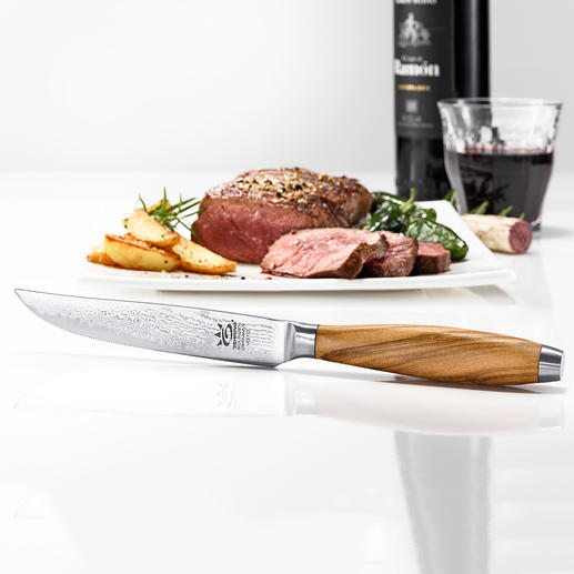 Damast-Steakmesser, 4er-Set - Selten zu finden: Steakmesser mit edlen Damaszener-Klingen. Scharf, schnitthaltig, präzise. Qualität made in Germany.