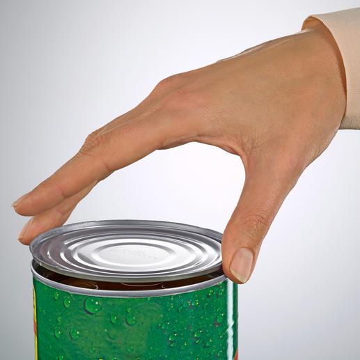 Nach dem Öffnen kann der Deckel zum passgenauen Verschließen der Dose wiederverwendet werden.