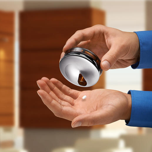 Als Dreh-Rondell konstruiert sind die Tabletten sauber geordnet und bequem zur Hand.