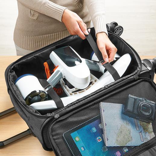 Passt in jeden Trolley und kann bequem im Handgepäck mitgenommen werden.