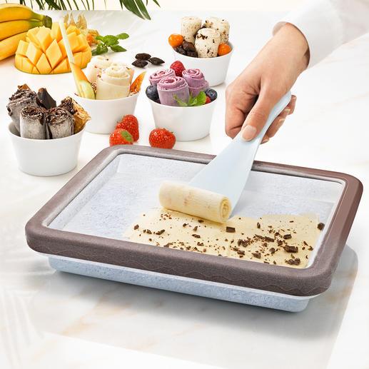 Rolled Ice-Kühlform - Der Food-Trend des Sommers: zarte Eisröllchen – ganz einfach hausgemacht.