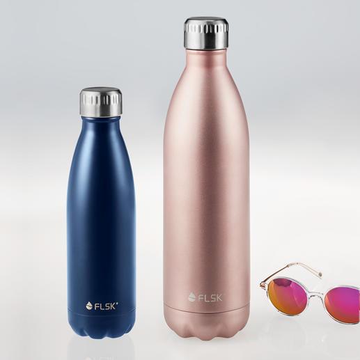 FLSK Isolierflasche oder muki Snackpot Die FLSK-Flasche mit VICC®-Isolier-Technologie: Hält bis zu 24 Stunden kalt und bis zu 18 Stunden heiß.