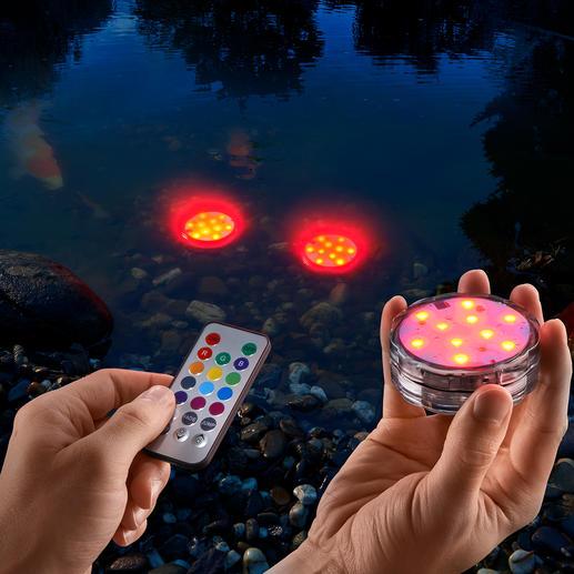 Wasserfeste LED-Farbleuchten, 3er-Set - Kabellose (Farb-)Lichtakzente für drinnen und draußen. Sogar im Gartenteich, Pool, ...