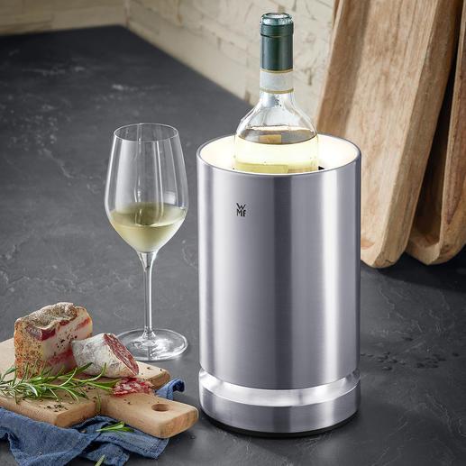 Sekt- und Weinkühler mit LED Cromargan® Edelstahl hält Ihren Wein, Sekt eisgekühlt – und elegant LED-beleuchtet.
