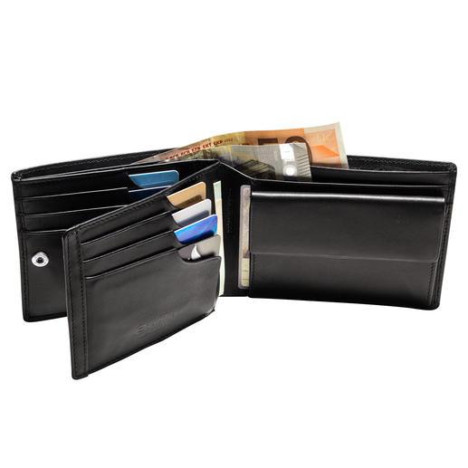 Patentierte Lederbörse mit RFID-Schutz Mit patentiertem Sicherungssystem für Ihre Kreditkarten. Lässt keine Karte mehr herausfallen.