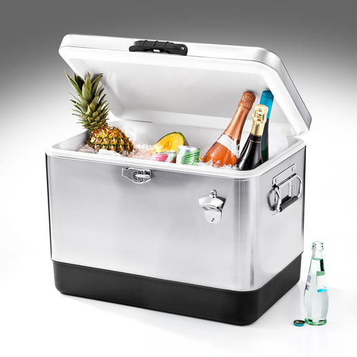 Edelstahl-Kühlbox Geräumig, isolierstark, vorzeigbar. Im angesagten Retro-Design aus Edelstahl statt Plastik. Zum guten Preis.