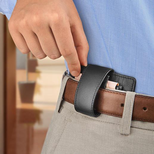 Bequem am Gürtel zu tragen dank integrierter Gürtelschlaufe.