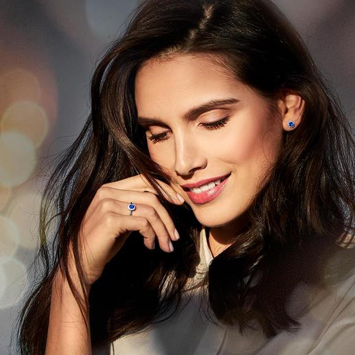 Saphir-Ring oder -Ohrstecker - Filigraner, echter Saphir-Schmuck mit Diamanten: glänzt auch mit seinem Preis.