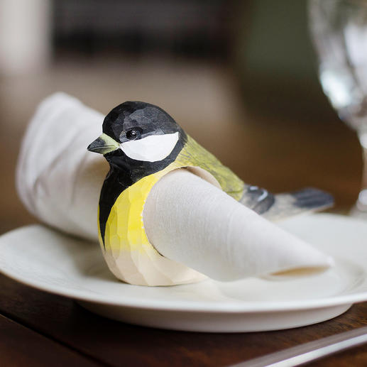 Serviettenringe Vögel, 6er-Set Ihre gefiederten Freunde – als bezaubernde Serviettenringe aus Holz, von Hand gefertigt.