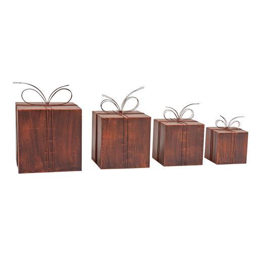 Deko-Geschenke aus Metall - Himmlische Weihnachtspost: der Stapel Deko-Pakete aus bronzebraunem Metall.