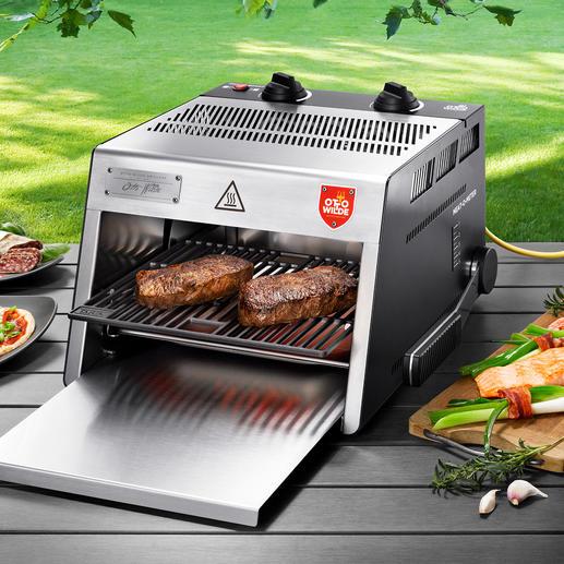 O.F.B. Hochtemperatur-Grill - Der 800 °C-Steakgrill mit extra großer Grillfläche. Für drinnen und draußen.
