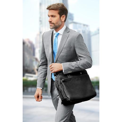 Auf Wunsch lässt sich die Tasche auch einseitig schultern – oder diagonal umhängen.