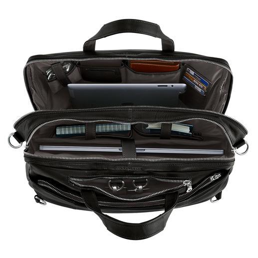 Laptop, Smartphone, Portemonnaie,... Alles hat seinen festen Platz.