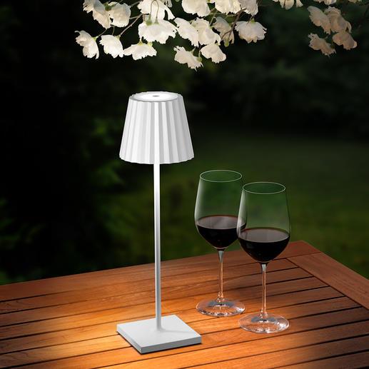 Design Akku-Tischleuchte - Wiederaufladbar und dimmbar. 23 LEDs zaubern schönste Lichtstimmung, blendfrei nach oben und unten gerichtet.