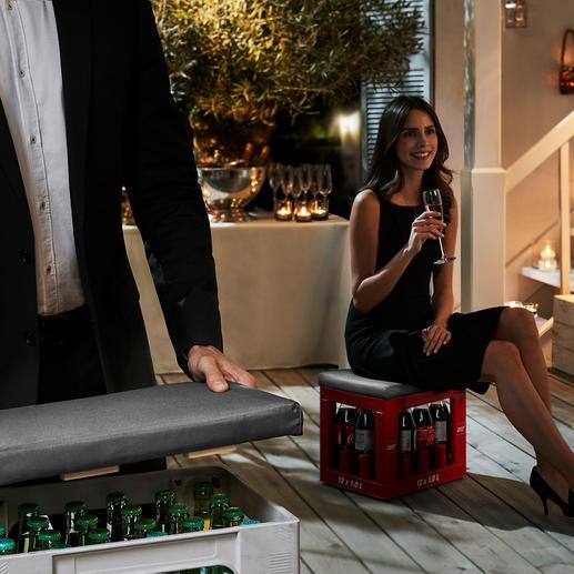 Sitzauflage für Getränkekisten - Ein Griff – und simple Getränkekisten werden zum originellen, gepolsterten Hocker.