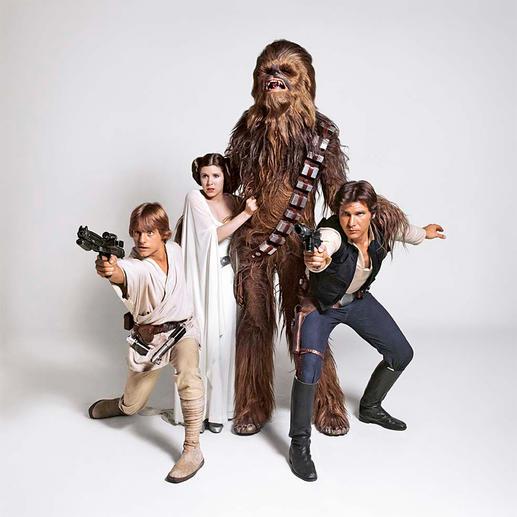 Luke Skywalker, Prinzessin Leia, Chewbacca und Han Solo auf einem Werbefoto von David Steen.