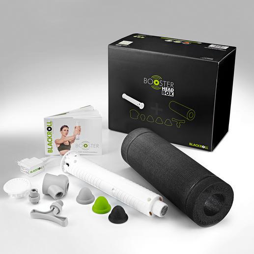 Das 7-teilige Set besteht aus Faszienrolle, Vibrationskern, Massagekopf, Gewinde-Adapter, Haken-Aufsatz und Druckpunkt-Aufsätzen in 3 Härtegraden.