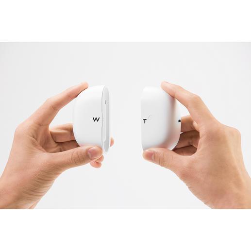 Das mitgelieferte Aufbewahrungs-Case ist zugleich Ladeschale und Powerbank für 2Ohrhörer-Ladungen.