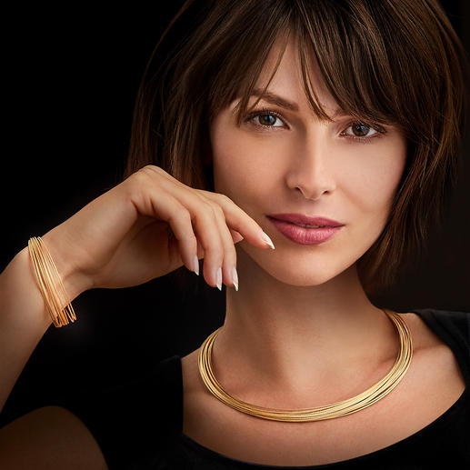 10-reihiges Gold-Armband oder 20-reihiges Gold-Collier