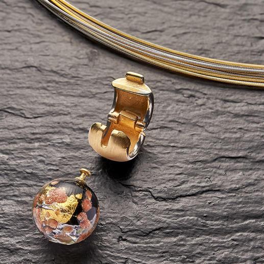 Per Clipverschluss können Sie die Muranoglas-Perle schnell und einfach wechseln.