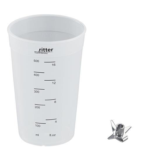 Mitgeliefertes Zubehör: Universalmesser und 500-ml-Mixbecher aus Kunststoff.