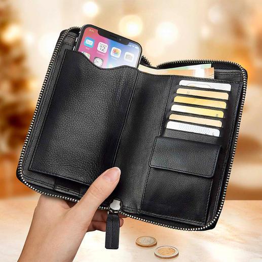 Handy-Börse Alle Wertsachen gut geschützt am Körper – und mit einem Griff zur Hand.