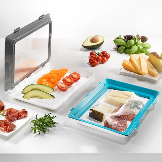 Click & Fresh-Frischhalte-Schale, 2er-Set Geniale Frischhalte-Schalen mit Click-Deckel aus elastischer Dauerfolie. Immer wieder verwendbar.
