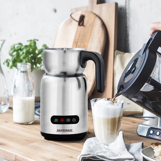 Gastroback Induktions-Milchaufschäumer 4 Automatikprogramme bereiten heißen und kalten Milchschaum, warme Milch und Trinkschokolade. Hygienisch zu reinigen.