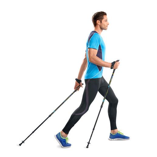 Geniale Walkingstöcke für 77 % mehr Kalorienverbrauch.* Effektiver trainieren dank patentiertem Feder-Widerstand. Belegt durch eine Studie der Modo Sports Academy, Schweden.