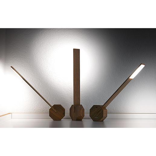 Mit variierbarem Lichteinfall – dank Standfuß in Oktagon-Form.