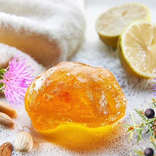 Bernsteinseife, 3er-Set Erlesene, natürliche Inhaltsstoffe reinigen, pflegen und erfrischen die Haut.