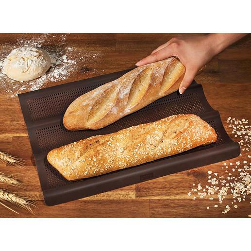 Silikon Baguette-Backmatte Ofenfrische Baguettes wie in Frankreich. Außen knusprig, innen fluffig. 3 Stück zugleich.