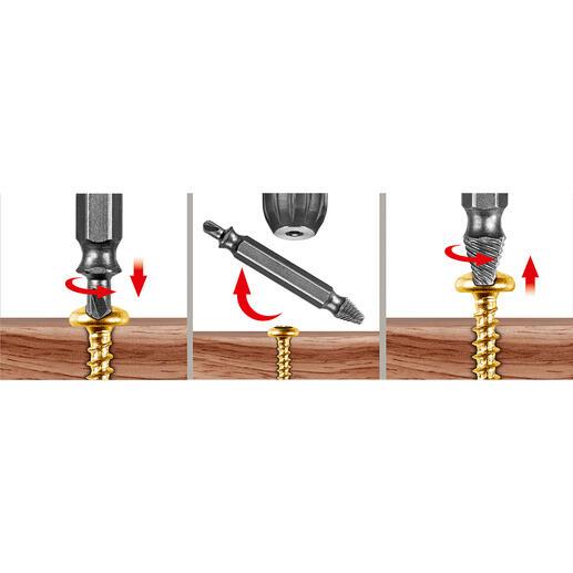 In 3Schritten Problemschrauben lösen: Loch in die Schraube bohren, Bit umdrehen und Schraube herauslösen – fertig.