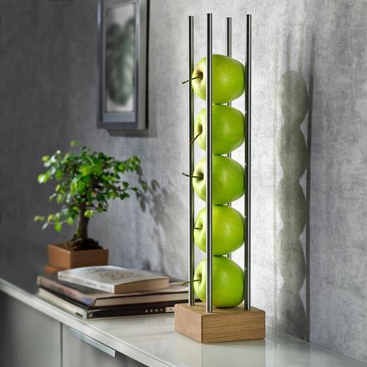 Obstständer - Modernes Holz-Edelstahl-Design lagert und präsentiert Früchte platzsparend, luftig und dekorativ zugleich.