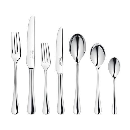 42-teiliges Set enthält: je 6 Gabeln, Messer, Vorspeisengabeln, Vorspeisenmesser, Esslöffel, Dessertlöffel, Teelöffel.