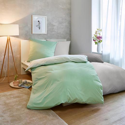 Sommer-Bettwäsche, 135 x 200 cm - Nur ein Hauch auf der Haut: sommerleichte, bi-color Wendebettwäsche aus reiner Baumwolle.