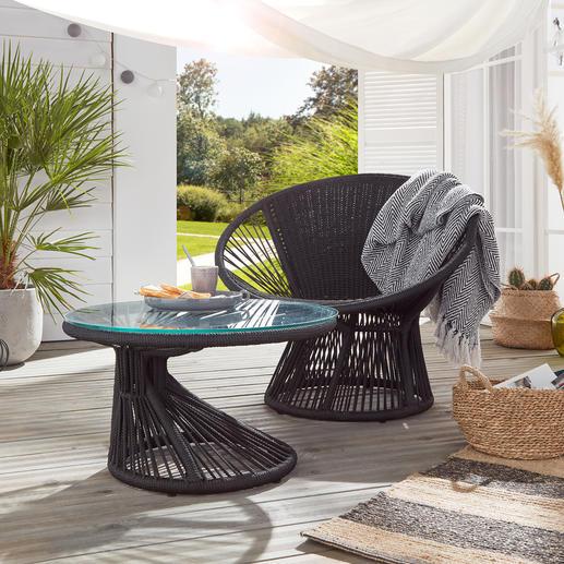 Loungesessel oder Flechttisch Seltene Parabol-Form, aufwändig handgeflochten: der Loungesessel im angesagten Sixties-Style.