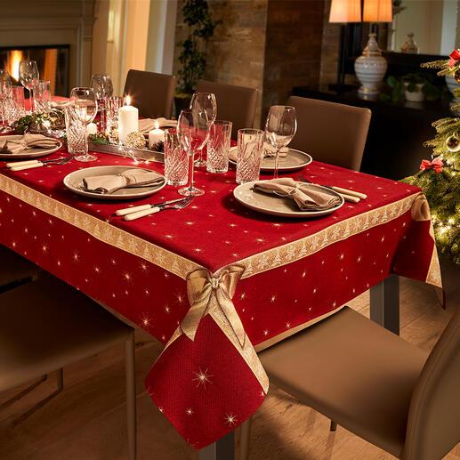 Tischdecke oder Tischläufer Schleife Tischwäsche mit prachtvollem 3D-Schleifendekor – aufwändig als Jacquard gewebt.