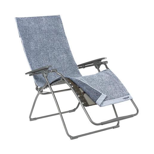 Die Frotteeauflage, Blau meliert (separat erhältlich), aus 100 % Baumwolle schont den Bezug – z. B. nach dem Schwimmen, beim Sonnenbaden, ... 3 integrierte Taschen halten Sonnenbrille, Lektüre, Sonnencreme, ...