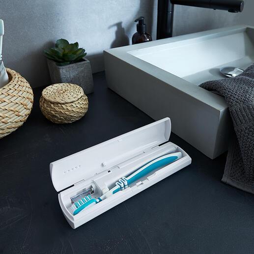 UV-C-Zahnbürstenbox Hygienisch und sicher: UV-C-Licht lässt Bakterien, Viren und Keimen keine Chance. Perfekt für zu Hause und unterwegs.