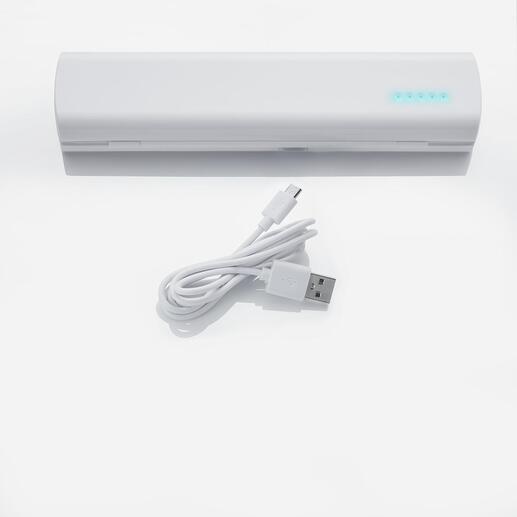 Bei Verwendung von Akku-Batterien auf Wunsch auch einfach per USB-Kabel aufladbar.