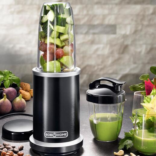 1.000-WattSmoothie-Blender Extrahiert Obst und Gemüse restlos – mit enormen 27.000 U/min. (statt nur 20.000 U/min.). Und erhält die gesunden Nährstoffe.
